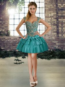 Teal Straps Neckline Beading Club Wear Sleeveless Lace Up
