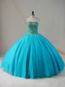 Blue Ball Gowns Tulle Strapless Sleeveless Beading Floor Length Lace Up Quinceanera Gowns