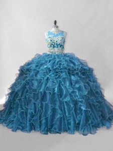 Scoop Sleeveless Organza Quinceanera Gown Beading and Ruffles Brush Train Zipper