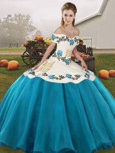 Elegant Blue And White Ball Gowns Organza Off The Shoulder Sleeveless Embroidery Floor Length Lace Up 15th Birthday Dress