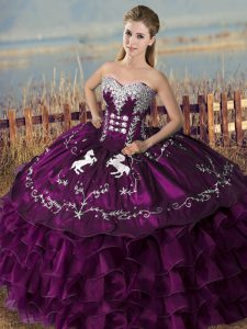 Floor Length Lace Up Sweet 16 Quinceanera Dress Purple for Sweet 16 and Quinceanera with Embroidery and Ruffles