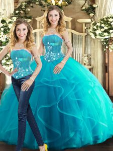 Superior Aqua Blue Sleeveless Tulle Lace Up Quince Ball Gowns for Sweet 16 and Quinceanera
