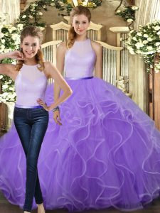 Comfortable Tulle High-neck Sleeveless Backless Ruffles Ball Gown Prom Dress in Lavender