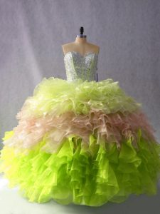 New Arrival Multi-color Lace Up Sweetheart Beading and Ruffles Quinceanera Gown Organza Sleeveless