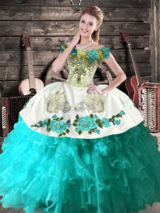 Aqua Blue Organza Lace Up Off The Shoulder Sleeveless Floor Length 15 Quinceanera Dress Embroidery