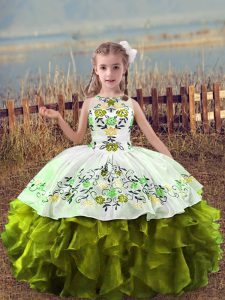 Olive Green Ball Gowns Embroidery and Ruffles Custom Made Pageant Dress Lace Up Organza Sleeveless Floor Length
