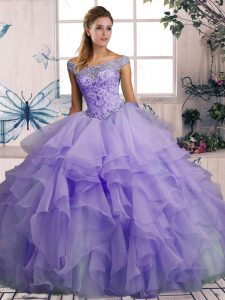 Dazzling Lavender Organza Lace Up Off The Shoulder Sleeveless Floor Length Quinceanera Dresses Beading and Ruffles