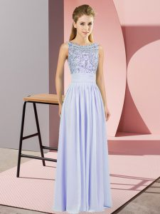 Lavender Sleeveless Beading Floor Length Prom Evening Gown