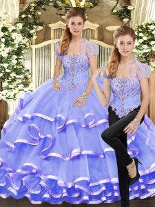 Popular Lavender Lace Up Strapless Beading and Ruffled Layers Sweet 16 Quinceanera Dress Organza Sleeveless