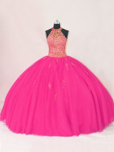New Style Sleeveless Tulle Floor Length Lace Up 15 Quinceanera Dress in Hot Pink with Beading and Appliques