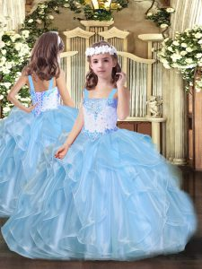 Organza Sleeveless Floor Length Pageant Dresses and Beading and Ruffles