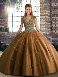 Stunning Sleeveless Lace Up Floor Length Beading and Appliques Quinceanera Dress