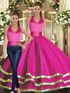 Graceful Floor Length Fuchsia Quinceanera Dresses Strapless Sleeveless Lace Up