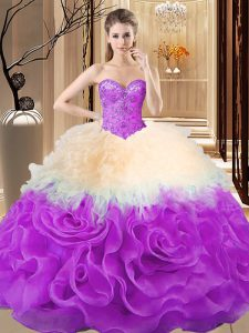 Multi-color Fabric With Rolling Flowers Lace Up Sweetheart Sleeveless Floor Length Ball Gown Prom Dress Beading and Ruffles