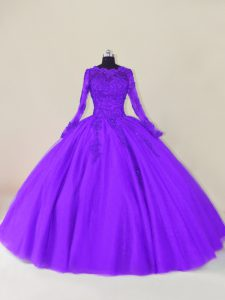 Enchanting Purple Zipper 15th Birthday Dress Lace and Appliques Long Sleeves Floor Length