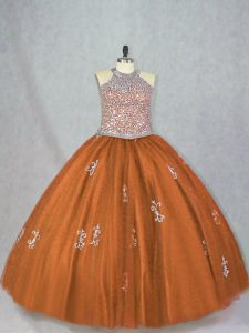 Pretty Brown Sleeveless Beading and Appliques Floor Length Quince Ball Gowns