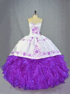 Amazing Lace Up Ball Gown Prom Dress Purple for Sweet 16 and Quinceanera with Beading and Ruffles Brush Train