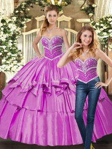 Floor Length Ball Gowns Sleeveless Lilac Sweet 16 Dress Lace Up