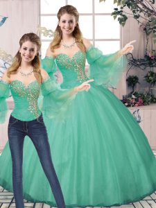 Sweetheart Sleeveless Tulle Sweet 16 Quinceanera Dress Beading Lace Up