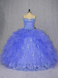 On Sale Purple Ball Gowns Appliques and Ruffles Quinceanera Dresses Lace Up Organza Sleeveless Floor Length