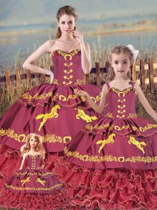 Custom Designed Embroidery and Ruffled Layers 15 Quinceanera Dress Burgundy Zipper Sleeveless Floor Length