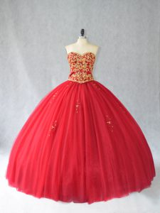 Classical Sleeveless Tulle Brush Train Lace Up Quinceanera Dress in Red with Beading