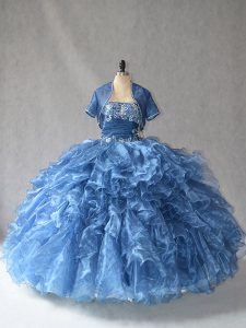 Enchanting Blue Side Zipper Sweetheart Beading and Ruffles Quinceanera Dress Organza Sleeveless