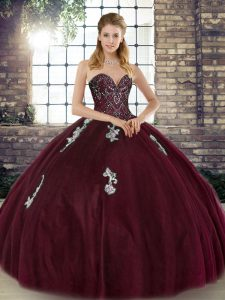 Burgundy Lace Up Ball Gown Prom Dress Beading and Appliques Sleeveless Floor Length