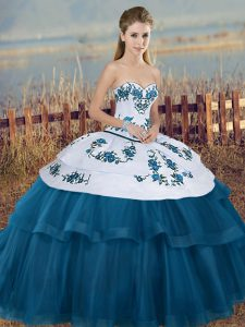 Floor Length Ball Gowns Sleeveless Blue And White Vestidos de Quinceanera Lace Up