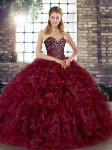 Burgundy Ball Gowns Sweetheart Sleeveless Organza Floor Length Lace Up Beading and Ruffles Quinceanera Gowns
