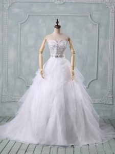 White Organza Zipper Wedding Gowns Sleeveless Brush Train Beading and Ruffles
