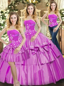 Smart Floor Length Lilac Quinceanera Dresses Strapless Sleeveless Lace Up