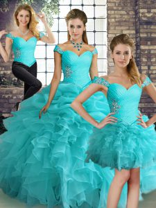 Off The Shoulder Sleeveless Organza Quinceanera Gowns Beading and Ruffles and Pick Ups Lace Up