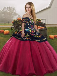 Glamorous Sleeveless Lace Up Floor Length Embroidery Quinceanera Gown