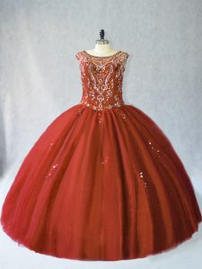 Gorgeous Rust Red Scoop Neckline Beading Quinceanera Dress Sleeveless Lace Up