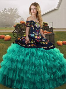 Customized Turquoise Ball Gowns Off The Shoulder Sleeveless Organza Floor Length Lace Up Embroidery and Ruffled Layers Sweet 16 Dresses