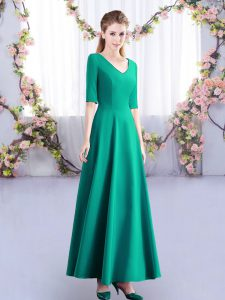 Turquoise Half Sleeves Satin Zipper Wedding Guest Dresses for Wedding Party