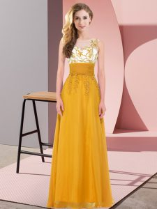 Glamorous Scoop Sleeveless Vestidos de Damas Floor Length Appliques Gold Chiffon