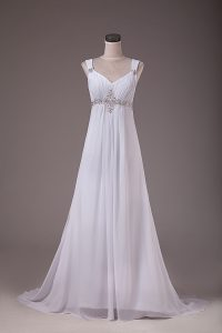 Enchanting Brush Train Empire Wedding Dresses White Straps Chiffon Sleeveless Lace Up