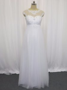Beautiful Scoop Sleeveless Tulle Wedding Gowns Beading and Lace Lace Up