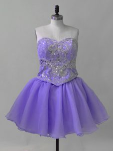 Sumptuous Sweetheart Sleeveless Lace Up Prom Evening Gown Lavender Organza