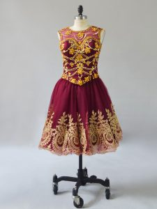 Beautiful Burgundy Sleeveless Mini Length Beading and Appliques Lace Up Prom Party Dress