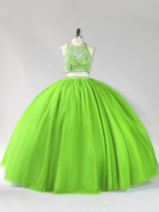 Sleeveless Tulle Floor Length Backless 15 Quinceanera Dress in with Beading
