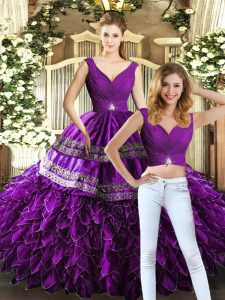 Designer Organza Sleeveless Floor Length Sweet 16 Quinceanera Dress and Beading and Embroidery and Ruffles