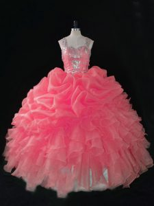Clearance Baby Pink Sleeveless Organza Zipper Sweet 16 Dress for Sweet 16 and Quinceanera