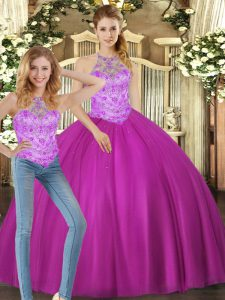 Fuchsia Sleeveless Floor Length Beading Lace Up Ball Gown Prom Dress