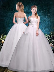 Hot Sale Floor Length White Wedding Gowns Sweetheart Sleeveless Lace Up
