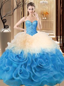 Beauteous Sleeveless Organza and Fabric With Rolling Flowers Floor Length Lace Up 15th Birthday Dress in Multi-color with Beading and Ruffles
