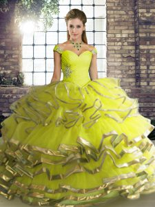 Floor Length Lace Up Quince Ball Gowns Yellow Green for Military Ball and Sweet 16 and Quinceanera with Beading and Ruffled Layers