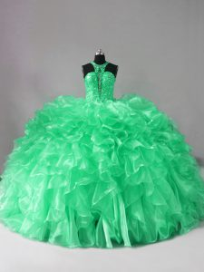 Latest Green Halter Top Lace Up Beading and Ruffles Quinceanera Dresses Brush Train Sleeveless